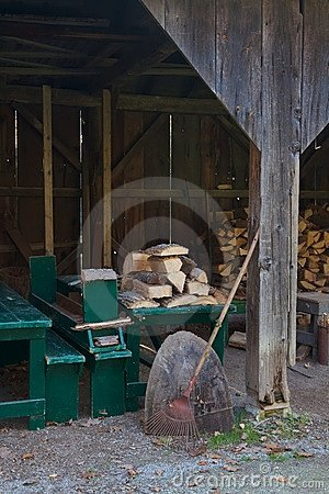Split firewood in an old wood shed