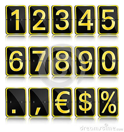 Split-flap display golden numerals