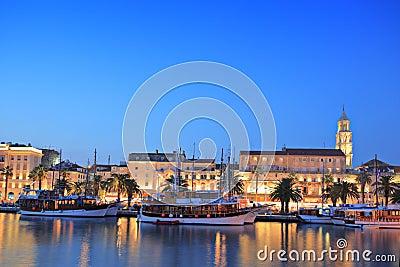 Split harbour depicting Diocletian s palace