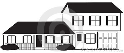 Split Level House Sketch with