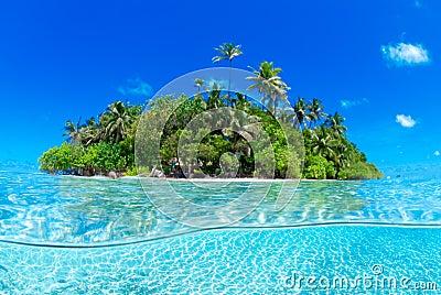Split shot of tropical island