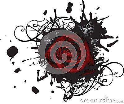 Splotched Grunge Large Rose