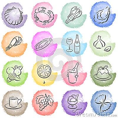splotches with food symbols