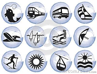 Splotches with tourism symbols