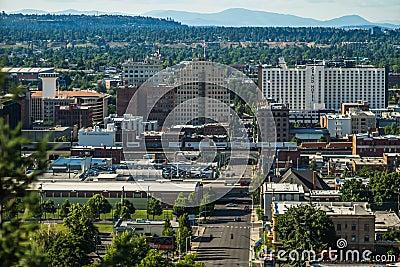 Spokane washington city skyline and spokane valley views Editorial Stock Photo