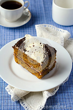 Sponge of-cake with apricot jam in COCONUT