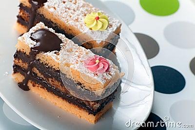 Sponge Cake Bricks with Chocolate Sauce