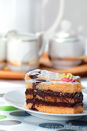 Sponge Cake Bricks with Chocolate Sauce