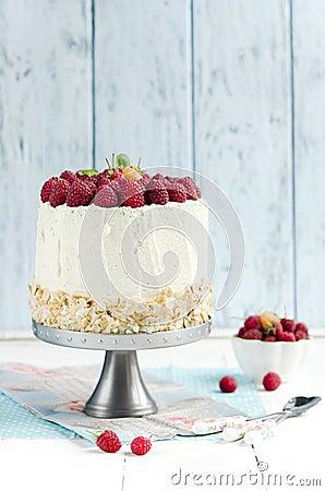 Free Sponge Cake With Raspberry Royalty Free Stock Photos - 44401238