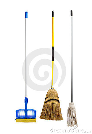 Sponge and string mop and broom on white