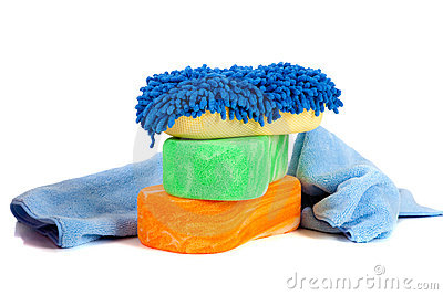 Sponges and chami cloth on a white background