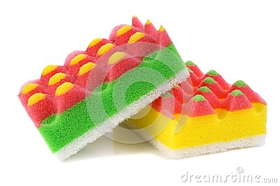 Sponges for washing and taking away on kitchen