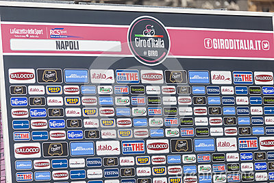 Sponsor wall of Giroditalia 2013 Editorial Photography