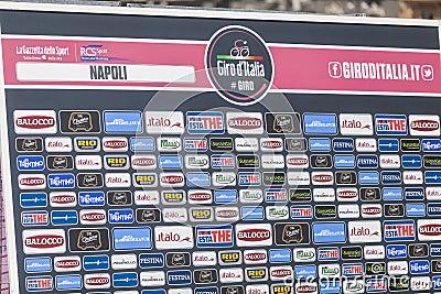 Sponsor wall of Giroditalia 2013 Editorial Photography