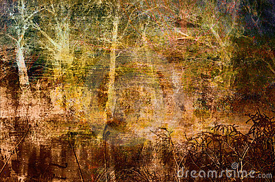 Spooky art grunge background with trees