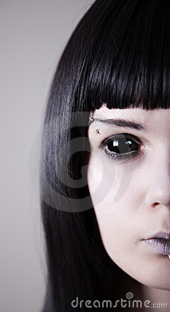 Spooky black eyed woman with pale skin