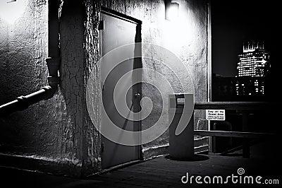 Spooky dark roof deck at night