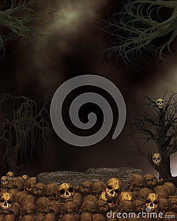 Spooky Dark Skull Background