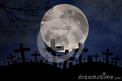 Spooky graveyard in halloween night