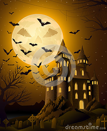 Spooky halloween night, with haunted castle Vector Illustration