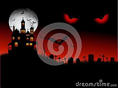 Spooky halloween scene Vector Illustration