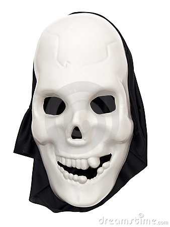 Spooky halloween skull mask on white