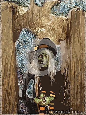 Spooky Halloween Witch Goblin illustration