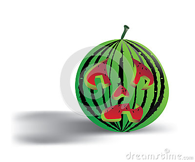 Spooky isolated watermelon