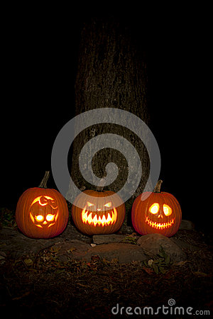 Spooky Jack-o-lanterns Outdoors