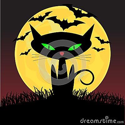 Spooky looking black cat with green eyes sitting u
