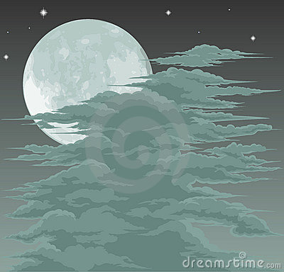 Spooky moonlit sky background