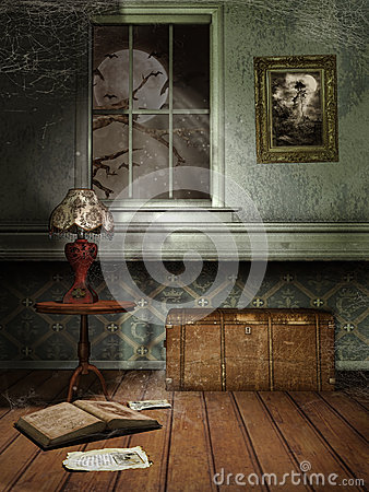 Free Spooky Room At Night Stock Images - 48465014