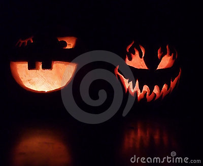 Spooky and Smiling Halloween Pumpkins