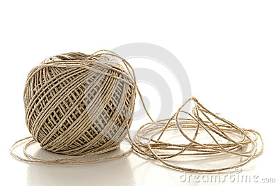 Spool of Natural Fiber Twine String over White