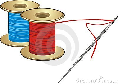 Spools with threads and needle