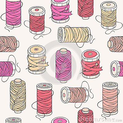 Spools of threads seamless pattern