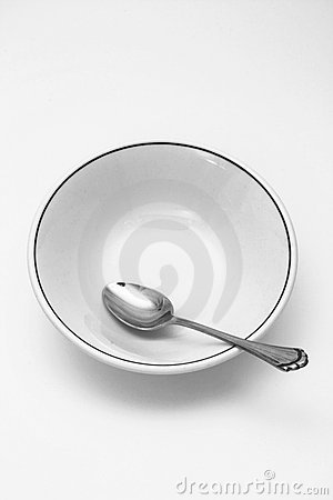Spoon and cereal bowl empty