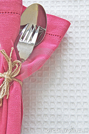 Spoon and Fork with pink serviette