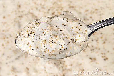 Spoon full of clam chowder