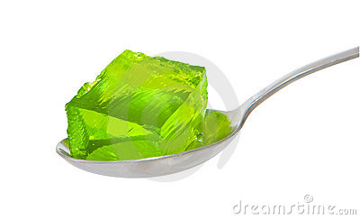 Spoon of green jelly