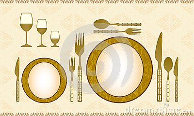 Spoon, knife, fork, plate and wineglass