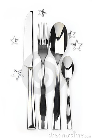Spoon, knife, teaspoon and fork with stars