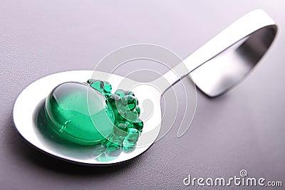 Spoon on mint caviar