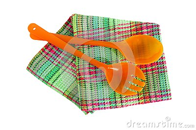 Spoons and kitchen towel