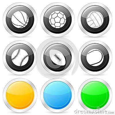 Sport ball circle icon set