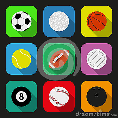 Sport balls flat icons set