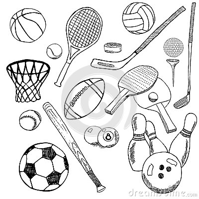 sport balls hand drawn sketch set with baseball bowling tennis football golf balls and other sports items drawing doodles elem - Sports Drawing Pictures