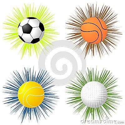 Sport balls over starburst