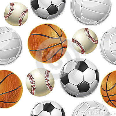 Sport Balls Set Seamless pattern.