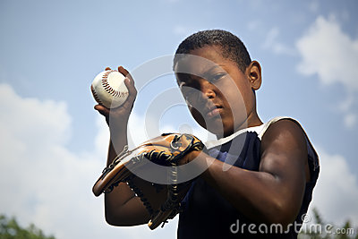 Sport, baseball and kids, portrait of child throwing ball